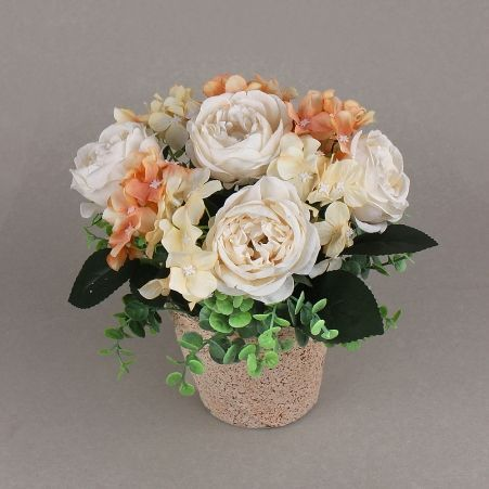 КС24-3 Роза с гортензией в кашпо (персик)