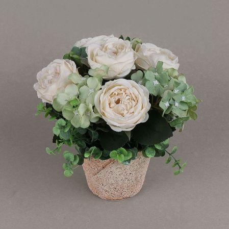 КС24-4 Роза с гортензией в кашпо (зеленая)