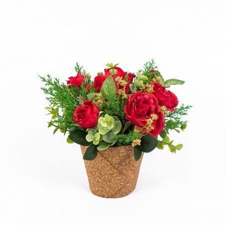 КС25-1(Sale) Роза пионовидная в кашпо (красная)