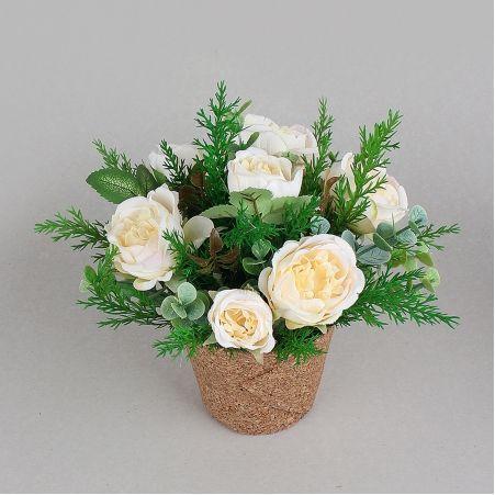 КС25-3 Роза пионовидная в кашпо (персик)