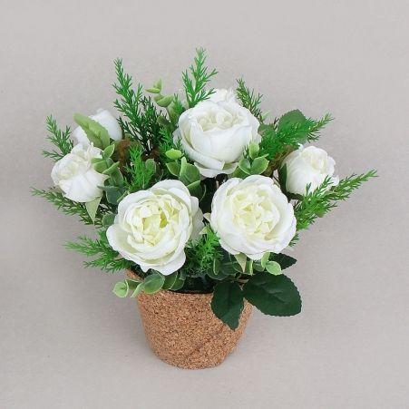КС25-4 Роза пионовидная в кашпо (белая)