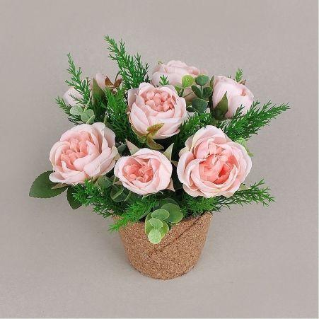 КС25-5 Роза пионовидная в кашпо (розовая)