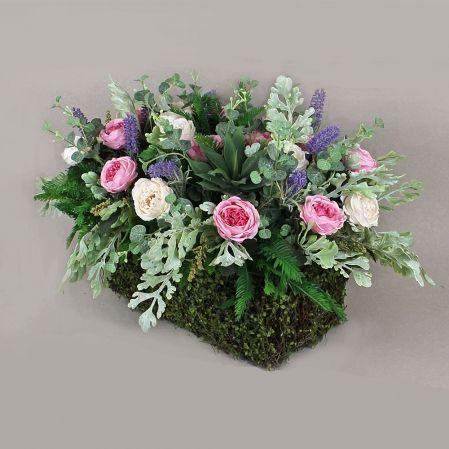 БД03 Роза пионовидная в декор.боксе(роз-крем)35х15