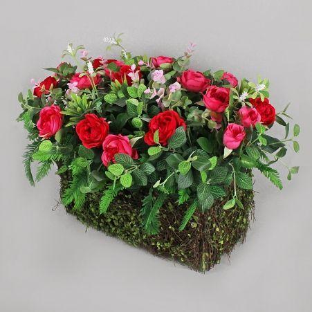 БД01 Роза пионовидная в декор.боксе(роз-пурп)35х15