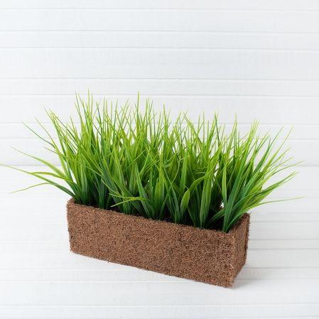 ТД051 Трава короткая  h-15см в кокос.боксе (25х8х8)
