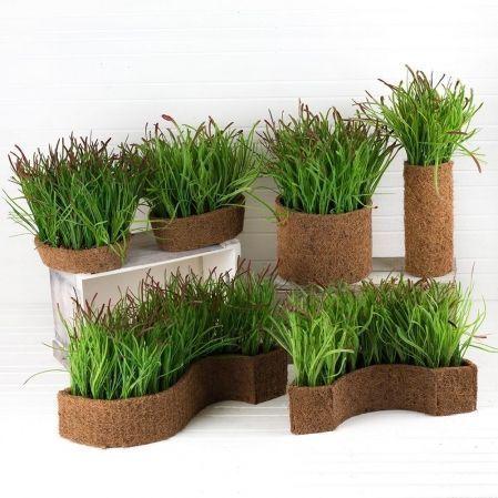 ТД054(Sale) Трава короткая h15см(латекс) в кокосовом боксе 25*8*8