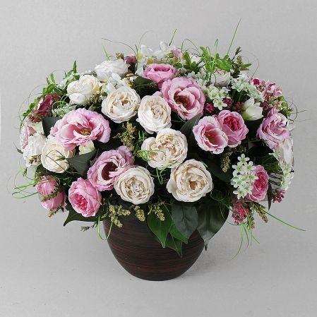 К123 Композ. из пионов розы и орхидеи d-50.h-35(з)