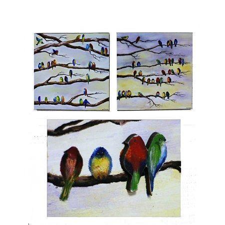 """807/046(Sale) Интер.панно""""Цветные птички""""58*29см(наб.2шт"""
