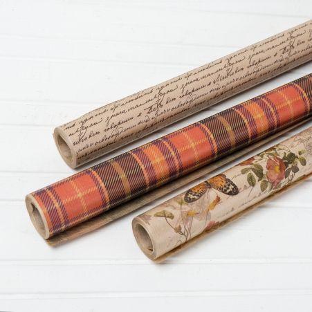Бумага в рулоне Крафт 70см*10м с рисунком многоцветная печать(40г/м2)(М)