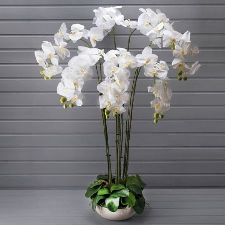 "ЦИ110/34 Орхидея h98см(латекс) в декоративном кашпо ""арт-бетон""d28см"