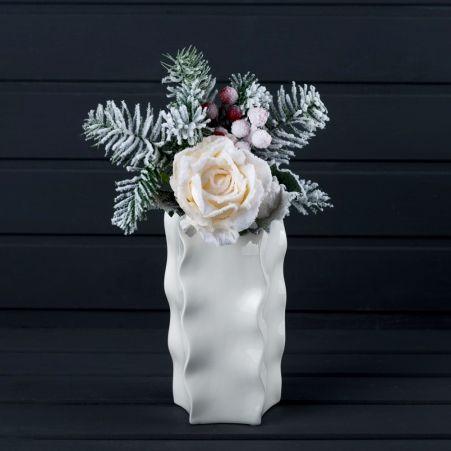 736/9180-15 Пика роза заснеженная с ягодами h35-40см
