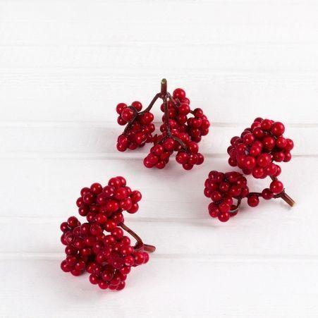 736/0599-1 Гроздь с красными ягодами (12шт/уп)