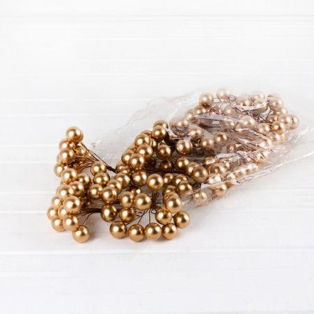 736/6055-4 Ягоды золотые пластик (12пучков/уп)