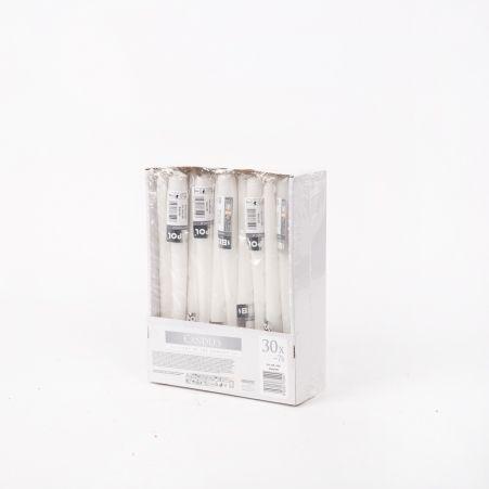 Свеча гладкая S30-1 белая (30шт/уп)(S30-1-090)