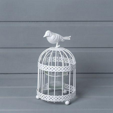 21/0833О Подсвечник клетка с птичкой  (металл) 10*h19см