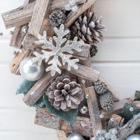 743/00893(Sale) MQ венок с деревянным декором серебро 34см (12)