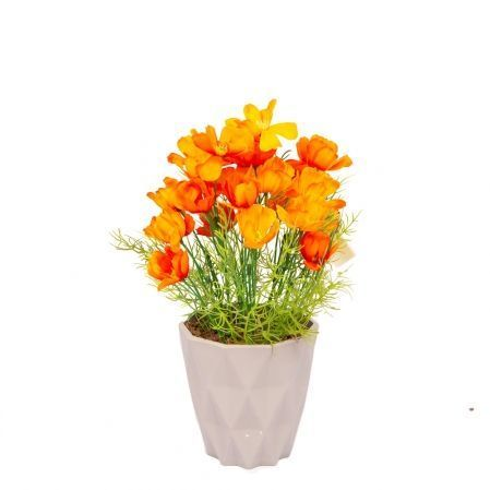 КС/О56-1 Космея (оранж) в декор. кашпо h-27см