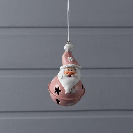743/89032(Sale) IRIS подвес бубенчик дед мороз розовый металл 8,5*5,5см