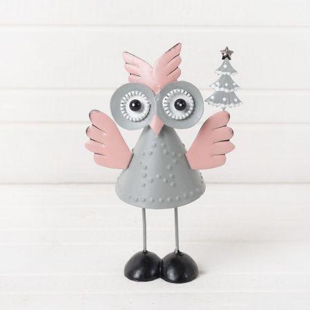 743/89092 IRIS(Sale) фигура сова с ёлкой серая металл 15*11см