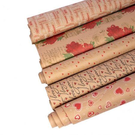 Бумага в рулоне Крафт 70см*8-9м с рисунком многоцветная печать (И,У)(78г/м2)