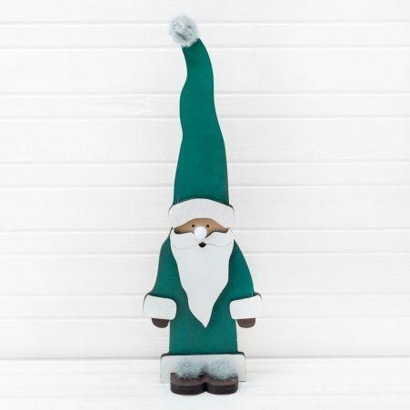 """807/056-1 Декор """"Дед Мороз с лампочкой"""" зеленый (14,5*45см)"""