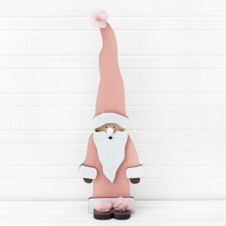 """807/056-3(Sale) Декор """"Дед Мороз с лампочкой"""" розовый (14,5*45см)"""