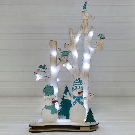 """816/10-2(Sale) Дерево с подсв.""""Птички/Снеговики"""" (голубой)32*h52см"""
