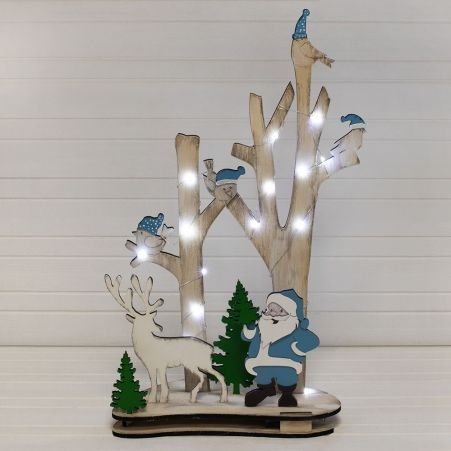 """816/11-2(Sale) Дерево с подсв. """"Птички/Дед Мороз""""(голубой) 32*h52см"""