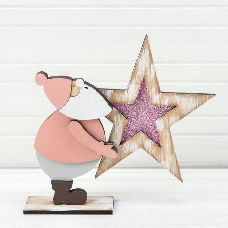 816/13-3(Sale) Дед Мороз со звездой (розовый) 26*h23см