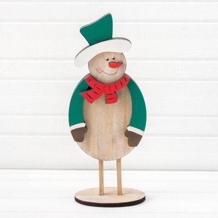 816/18-1(Sale) Снеговик на ножках  (зеленый) 11*h26см