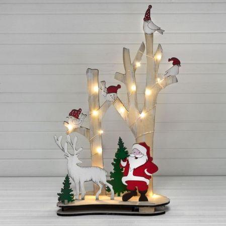 "816/11-1/2(Sale) Дерево с подсвет.""Птички/Д.Мороз""(красн.-зелен)32*h52см"