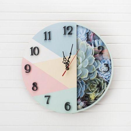 """801/027-1(Sale) Коллекция """"Геометрия"""" Часы """"Суккуленты""""d-35см (голуб.)"""