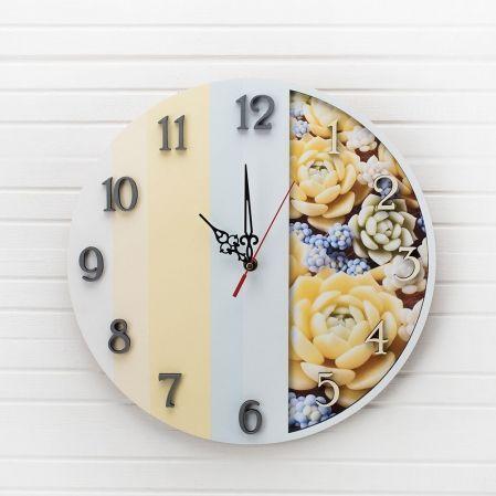 "801/032-2(Sale) Коллекция ""Полосы"" Часы ""Суккуленты"" d-35см(желт.)"