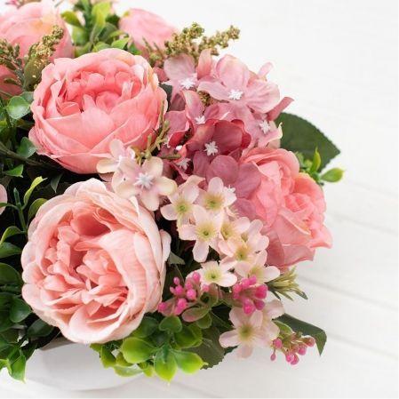 КС/О57 Розы в декор. кашпо Геометрия h-17см
