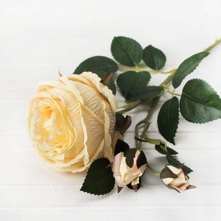 401/0010-3L Роза пионовидная искусственная h-75см желтая (1г+2б)