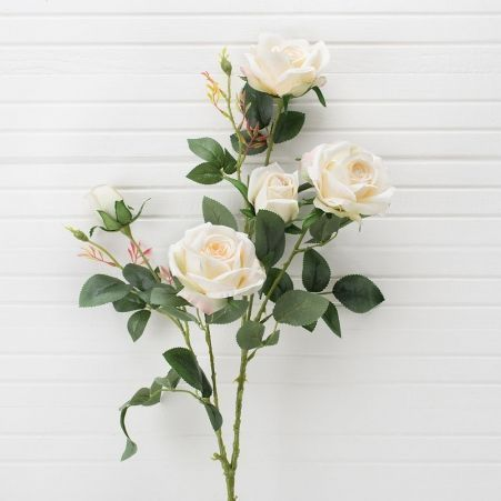 401/0011-23L Роза искусственная h-95см белая (3г.2б.)