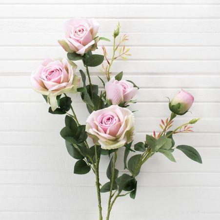 401/0011-5L Роза искусственная h-95см светло-розовая (3г.2б.)