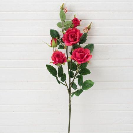 401/0029-15L Роза ветка искусственная h 70см малиновая (3г.2б.)