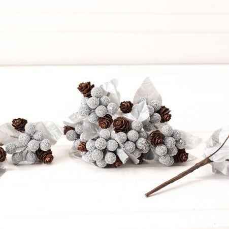 736/0599-6 Пика с ягодами и шишками h-13см (12шт/уп)