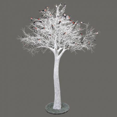 300разб/Пр/173-1 Дерево заснежен.на основан.со снегирями h-300см