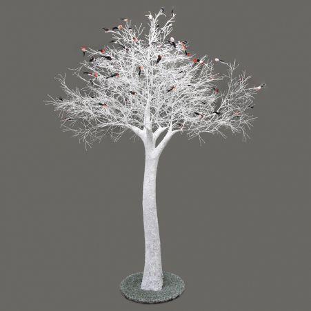 300разб/Пр/173-1(АКЦИЯ) Дерево заснежен.на основан.со снегирями h-300см