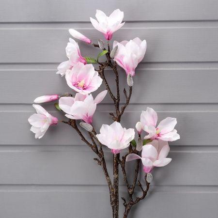 7143/9190-2 Ветка Магнолии гол. с цветами (бел+роз)