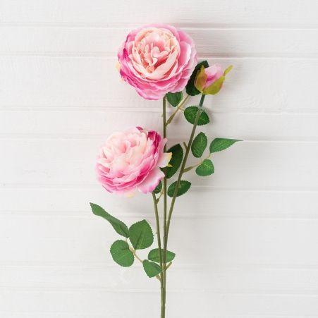 7141/0045-4/1 Роза пионовидная искусственная h 65см розовая (2г.1б.)