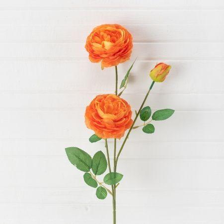 7141/0045-4/18 Роза пионовидная искусственная h 65см оранжевая (2г.1б.)