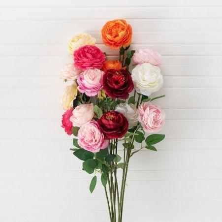 7141/0045-4/2 Роза пионовидная искусственная h 65см красная (2г.1б.)