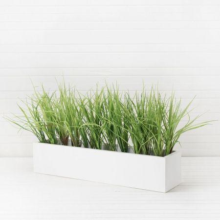 ТД032-51 Трава зелен.(латекс) в дерев. белом ящике (50*10*12см)