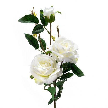 401/0011-23В Роза искусственная h-95см белая (3г.2б.)