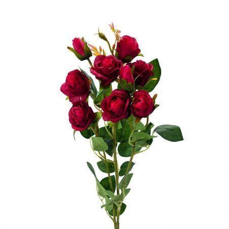 401/0022-15L Роза ветка искусственная h-73см малиновая (7г+2б)