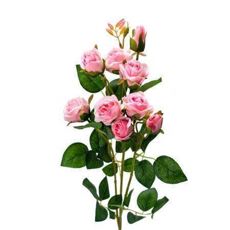 401/0022-1L Роза ветка искусственная h-73см розовая (7г+2б)