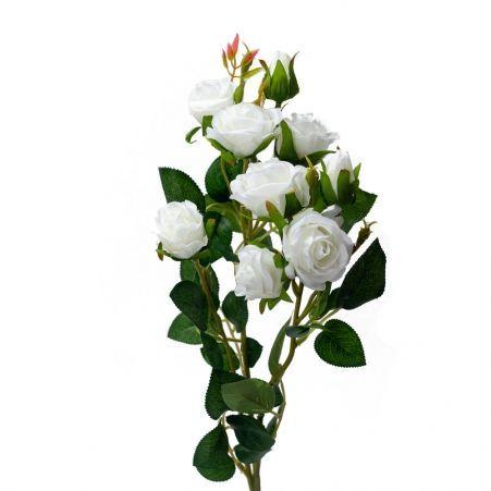 401/0022-23L Роза ветка искусственная h-73см белая (7г+2б)